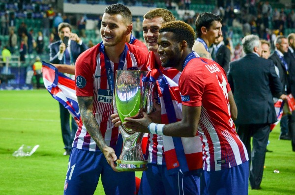 Footballers Atletico Madrid celebrate the victory - 2018