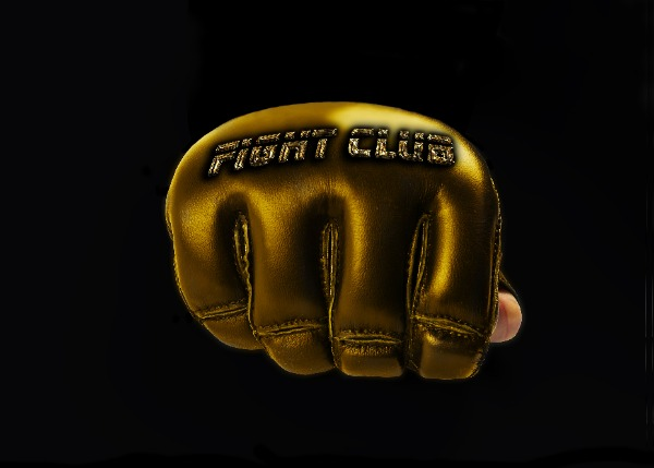"Gold Glove for the martial arts. inscription ""fight club"""