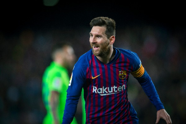 Lionel Messi of FC Barcelona celebrates after scoring a goal against Levante UD during their 35th round match of the La Liga 2018-2019 season at Camp Nou Stadium in Barcelona, Spain, 27 April 2019.