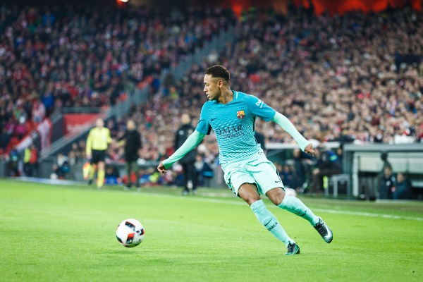 BILBAO, SPAIN - JANUARY 05: Neymar, Barcelona player, in action during the eighth-finals Spanish Cup match between Athletic Bilbao and FC Barcelona, celebrated on January 05, 2017 in Bilbao, Spain