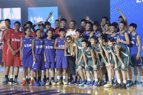NBA star Stephen Curry of Golden State Warriors attends a fan meeting event during his 2017 China tour at Beijing University of Technology in Beijing, China, 22 July 2017.