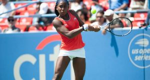Coco Gauff (USA) in the qualifying rounds of the Citi Open tennis tournament on July 27, 2019 in Washington DC