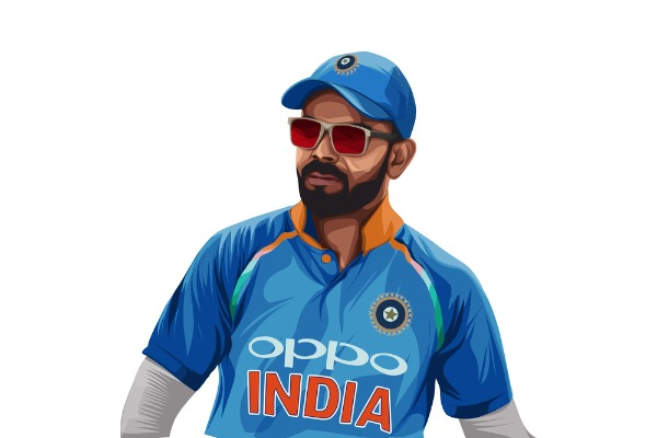 Indian cricketer and captain Virat Kohli wearing the blue jersey.