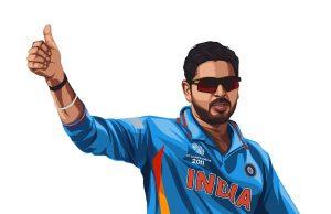 Indian cricketer Yuvraj Singh wearing the blue jersey.