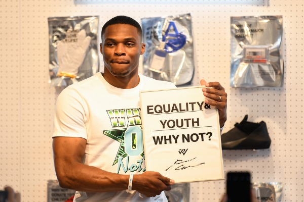 """""""NBA star Russell Westbrook of Oklahoma City Thunder attends a basketball event during his China tour in Shanghai, China, 9 August 2018."""