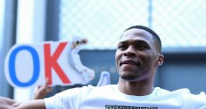 NBA star Russell Westbrook of Oklahoma City Thunder attends a fan meeting event during his China tour in Shanghai, China, 9 August 2018.
